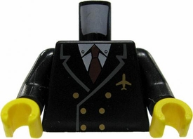 LEGO LOOSE Torso Black Pilot's Jacket Design with Gold Buttons & Pin