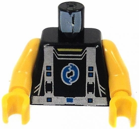 LEGO LOOSE Torso Black Vest with Silver Harness & Blue Chest Logo [Yellow Arms]