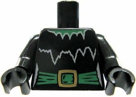 LEGO LOOSE Torso Black with Black with White Details & Green Belt