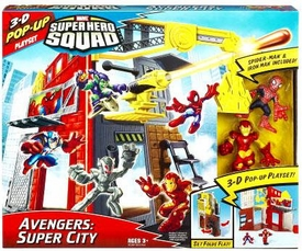 Marvel Super Hero Squad 3-D Pop Up Playset Avengers: Super City [Spider-Man & Iron Man Figures]