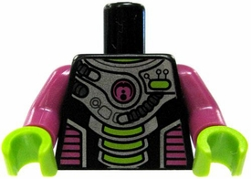 LEGO LOOSE TORSO Black with Purple & Silver Accents with Light Green Hands [Version 1]