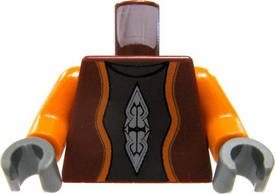 LEGO LOOSE Torso Dark Red Vest with Orange Sleeves & Printed Details