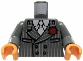 LEGO LOOSE Torso Gray Pinstripe Suit with Red Boutineer & White Tie