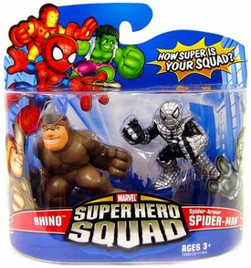 Marvel Super Hero Squad Series 12 Mini 3 Inch Figure 2-Pack Rhino & Spider-Armor Spider-Man