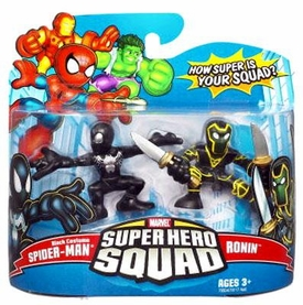 Marvel Super Hero Squad Series 10 Mini 3 Inch Figure 2-Pack Spider-Man [Black Costume] & Ronin