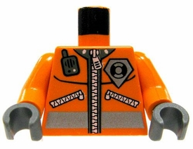 LEGO LOOSE Torso Orange Safety Jacket with Zipper, Radio & Badge