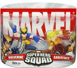 Marvel Super Hero Squad Series 1 Mini 3 Inch Figure 2-Pack Wolverine & Sabretooth