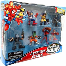 Marvel Super Hero Squad Mini Figure 7-Pack Avengers Attack [Crossbones, Wolverine, Iron Man, Captain America, Leader, Black Costume Spider-Man, Red She-Hulk]