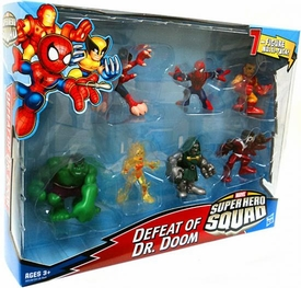 Marvel Super Hero Squad Mini Figure 7-Pack Defeat of Dr. Doom [Volcana, Reptil, Falcon, Spider-Man, Hulk, Iron Man, Dr. Doom]