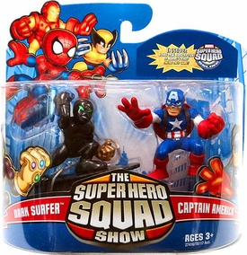Marvel Super Hero Squad Series 22 Mini 3 Inch Figure 2-Pack Dark Surfer & Captain America