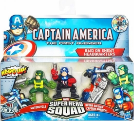 Super Hero Squad Captain America First Avenger 3-Pack Raid on Enemy Headquarters [Motorcycle, Hydra Soldier & Capt. America]