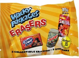 Topps Wacky Packages Erasers Series 1 Booster Pack [3 Collectible Erasers + 3 Stickers]