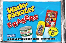 Topps Wacky Packages Erasers Series 2 Booster Pack [3 Collectible Erasers + 3 Stickers]