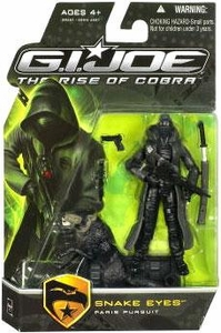 GI Joe Movie The Rise of Cobra 3 3/4 Inch Action Figure Snake Eyes with BLACK Timber [Paris Pursuit]