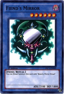 YuGiOh 2012 Premium Tin Promo Single Card Super Rare PRC1-EN003 Fiend's Mirror