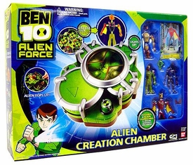 Ben 10 Alien Force Playset Alien Creation Chamber Set {GREEN} [Includes Humungousaur, Swampfire, Chromastone & Jetray Mini Figures]