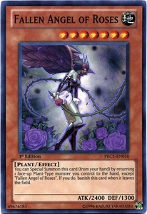 YuGiOh 2012 Premium Tin Promo Single Card Super Rare PRC1-EN010 Fallen Angel of Roses