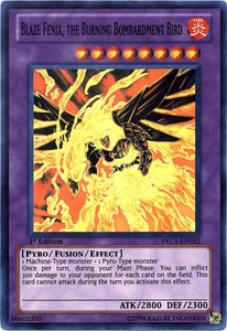 YuGiOh 2012 Premium Tin Promo Single Card Super Rare PRC1-EN012 Blaze Fenix, the Burning Bombardment Bird