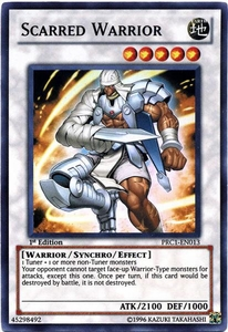 YuGiOh 2012 Premium Tin Promo Single Card Super Rare PRC1-EN013 Scarred Warrior