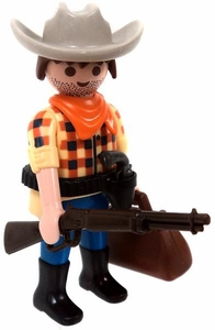 Playmobil LOOSE Mini Figure Cowboy / Train Robber with Winchester, Six Shooter & Money Bag