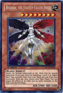 YuGiOh 2012 Premium Tin Promo Single Card Secret Rare PRC1-EN016 Rosaria, The Stately Fallen Angel