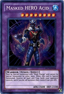 YuGiOh 2012 Premium Tin Promo Single Card Secret Rare PRC1-EN018 Masked HERO Acid