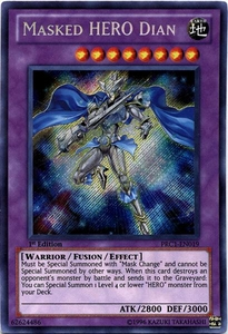 YuGiOh 2012 Premium Tin Promo Single Card Secret Rare PRC1-EN019 Masked HERO Dian