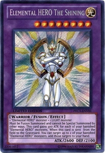 YuGiOh 2012 Premium Tin Promo Single Card Secret Rare PRC1-ENV01 Elemental HERO The Shining