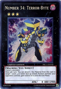 YuGiOh 2012 Premium Tin Promo Single Card Secret Rare PRC1-ENV02 Number 34: Terror-Byte