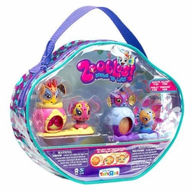 Zoobles Toy Exclusive Gift Pack Vinyl Carry Case [#124 Chante, #125 Helmut, #126 Pooley, #218 Pinchers]