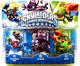 Skylanders Figure 3-Pack Lightning Rod, Zook & Cynder BLOWOUT SALE!
