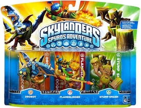 Skylanders Figure 3-Pack Drobot, Flameslinger & Stump Smash BLOWOUT SALE!
