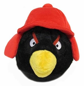 Angry Birds WINTER 6 Inch MINI Plush Figure Black [Red Hat]