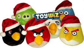 Angry Birds Set of 6 CHRISTMAS 5 Inch MINI Plush Figures [Red, Yellow, Black, Blue, White & Piglet]