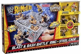 WWE Wrestling Rumblers Exclusive Blast & Bash Battle Ring & Steel Cage [First Ever Rumblers Title Belt!]