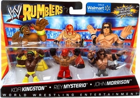 WWE Wrestling Rumblers Exclusive Mini Figure 3-Pack Kofi Kingston [Yellow Outfit], Rey Mysterio & John Morrison