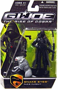 GI Joe Movie The Rise of Cobra 3 3/4 Inch Action Figure Snake Eyes with GRAY Timber [Paris Pursuit]