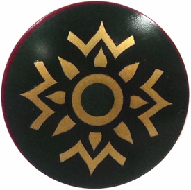 LEGO Shield LOOSE Shield Dark Green Buckler with Gold Pattern