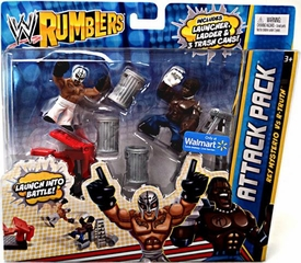 WWE Wrestling Rumblers Exclusive Attack Pack Rey Mysterio Vs. R-Truth [Includes Launcher, Ladder & Trash Cans!]