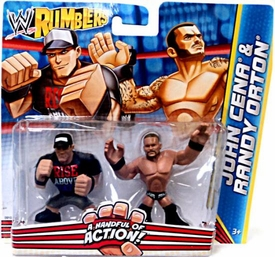 WWE Wrestling Rumblers Mini Figure 2-Pack John Cena  [Rise Above T-Shirt] & Randy Orton