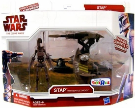 Star Wars 2009 Clone Wars Legacy Collection Exclusive Vehicle Stap with Battle Droid