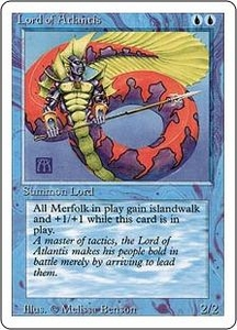 Magic the Gathering Revised Edition Single Card Rare Lord of Atlantis Slightly Played Condition