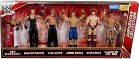 Mattel WWE Wrestling Exclusive Superstar Collection Action Figure 6-Pack Rey Mysterio, Undertaker, Rock, John Cena, Sheamus & Alberto Del Rio