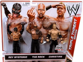 Mattel WWE Wrestling Exclusive Action Figure 3-Pack Rey Mysterio, Rock & Christian [Triple Threat Match] BLOWOUT SALE!