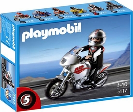 Playmobil Transport Set #5117 Gray Motorcycle with Rider