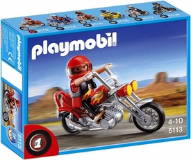 Playmobil Transport Set #5113 Chopper Motorcycle with Rider