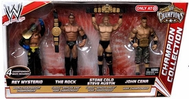 Mattel WWE Wrestling Exclusive Champion Collection Action Figure 4-Pack Rey Mysterio, Rock, Steve Austin & John Cena [4 Championship Belts!]