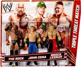 Mattel WWE Wrestling Exclusive Action Figure 3-Pack Rock, John Cena & Brock Lesnar [Triple Threat Match]