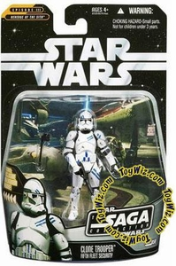 Star Wars Saga 2006 Basic Action Figure #59 Clone Trooper 5th Fleet Security [Blue Stripes]