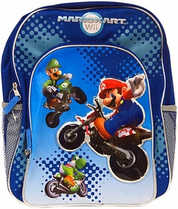 Mario Kart Wii Backpack Blue & Silver with Mario Luigi & Yoshi